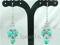 wholesale 8mm blue turquoise sterling dangling earrings