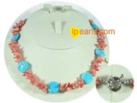blue flower turquoise necklace with pink coral