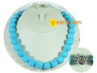 12mm blue round cameo turquoise necklace